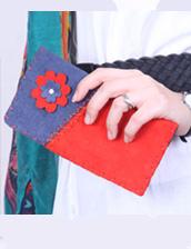 کیف پول زنانه سبز تیکه دوزی مدل چرم دست دوز