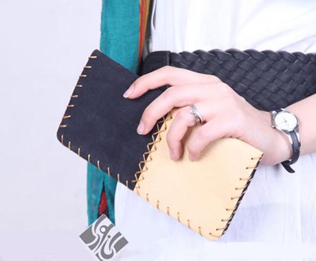 کیف پول سرمه ای کرمی زنانه مردانه مدل چرم دست دوز