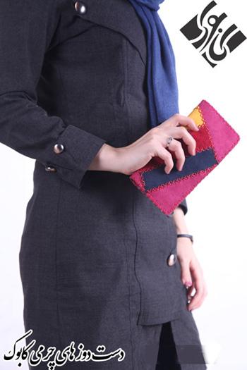 کیف پول زنانه صورتی مدل چرم دست دوز