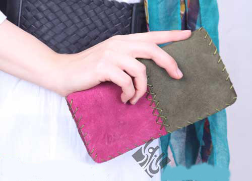 کیف پول صورتی سبز زنانه مدل چرم دست دوز