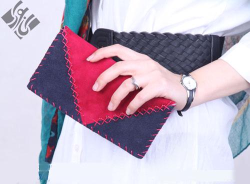 کیف پول زنانه سرمه ای زرشکی مدل چرم دست دوز